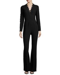 Elie Tahari Willow Lace Trimmed Flare Leg Jumpsuit Black