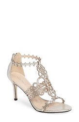 Klub Nico Women's 'Antonia' Laser Cut T Strap Sandal Silver Leather