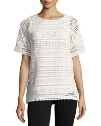 Vince Geometric Lace Short Sleeve Top Off White