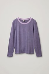 Cos Long Sleeved Cotton Top Purple