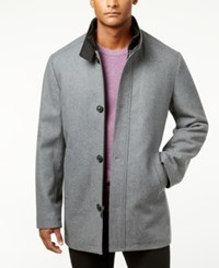 Kenneth Cole Men's Single Breasted Charcoal Solid Car Coat