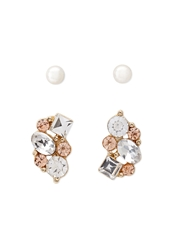 Forever 21 Rhinestone And Faux Pearl Ear Jackets Peach Cream
