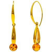 Be Jewelled Round Amber Elongated Drop Earrings Gold Cognac