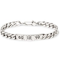 Guccighost Engraved Sterling Silver Id Bracelet Silver