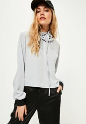 Missguided Grey Hammered Satin Cowl Neck Blouse