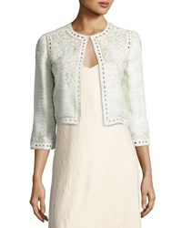 Monique Lhuillier Embroidered Boucle Cropped Jacket Gray