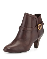 Circa Joan And David Cailey Leather Croc Print Ankle Boot Dark Brown