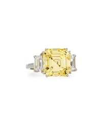 Canary Asscher Cubic Zirconia Ring 13.00 Tcw Fantasia By Deserio