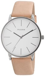 Pilgrim Simple Silver Plated And Brown Watch Brown