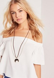 Missguided Moon Pendant Necklace Gold