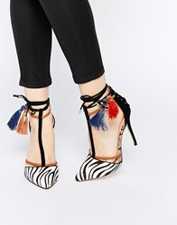 River Island Zebra Print Tassle Court Shoe Blackprint