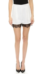 Nicholas Lace Trim Crepe Shorts White Black