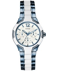 Guess Women's Blue And White Ion Plated Stainless Steel Bracelet Watch 36Mm U0556l9