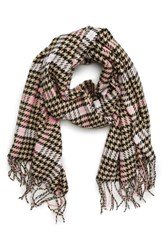 David And Young Houndstooth Scarf Tan Multi