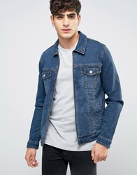 Asos Skinny Fit Zip Through Western Denim Jacket In Mid Wash Blue
