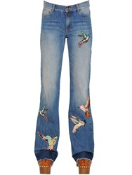 Red Valentino Bird Batches Cotton Denim Jeans