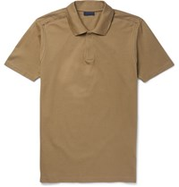 Lanvin Slim Fit Cotton Pique Polo Shirt Brown