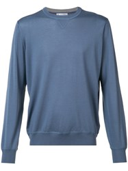 Brunello Cucinelli Crew Neck Sweatshirt Men Cashmere Wool 48 Blue