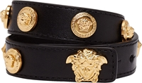 Versace Black Leather Double Wrap Gold Medusa Stud Bracelet