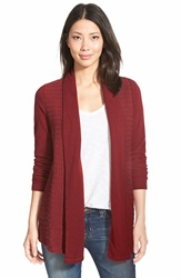Lucky Brand Cable Texture Open Front Cardigan Rich Dark Red