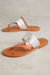 Anthropologie Sanchita Berberis Metallic Sandals Silver