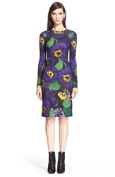 Women's Erdem 'Eileen' Floral Print Ponte Knit Sheath Dress Purple Green