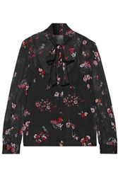 Red Valentino Redvalentino Pussy Bow Printed Stretch Silk Chiffon Blouse Black