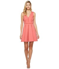 Adelyn Rae Pauline Knit Ponte Fit And Flare Coral Women's Dress