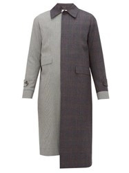 Loewe Asymmetric Checked Wool Coat Grey Multi