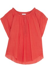 Iro Maeva Ruched Broadcloth Top Red