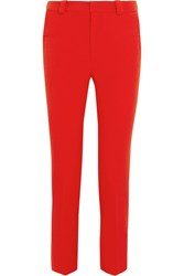 Roland Mouret Lacerta Stretch Crepe Straight Leg Pants Red