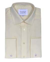 Double Two Men's Non Iron Micro Twill Shirt Cream