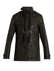 Lanvin Hooded Leather Jacket Black