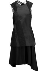 3.1 Phillip Lim Draped Embroidered Silk Chiffon Dress Black