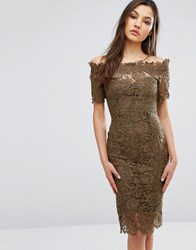 Paper Dolls Bardot Midi Lace Dress With 3 4 Sleeve Khaki Green