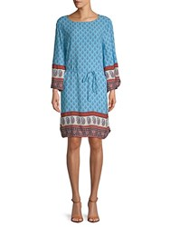 Beach Lunch Lounge Belted Long Sleeve Shift Dress Red Multi
