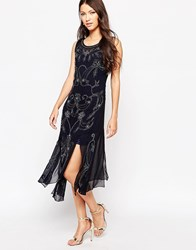 True Decadence Embellished Shift Dress With Splits Navy