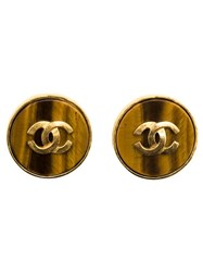 Chanel Vintage Button Clip On Earrings