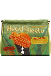 Charlotte Olympia Head Over Heels Maggie Embellished Embroidered Satin Clutch Green