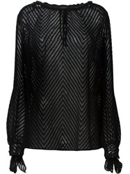 Just Cavalli Sheer Peasant Blouse Black