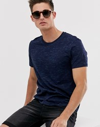Esprit T Shirt In Navy With Neon Blue Fleck