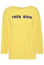 Chinti And Parker Woman Embroidered Striped Cotton Jersey Top Yellow