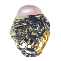 Queensbee Rabbit Cocktail Ring Pink Purple
