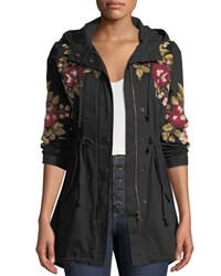 Johnny Was Mehdi Hooded Drawstring Waist Embroidered Coat Black