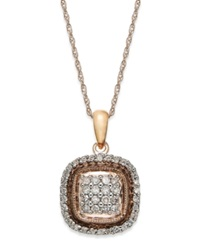 Macy's Diamond Square Pendant Necklace In 10K Rose Gold 3 8 Ct. T.W.