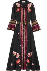 Temperley London Amity Pussy Bow Embroidered Cotton Midi Dress Black
