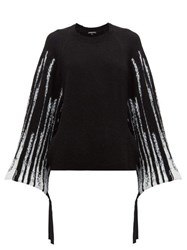 Ann Demeulemeester Striped Wool Blend Sweater Black White