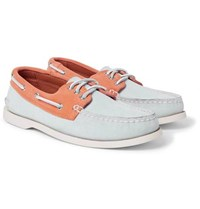 Quoddy Downeast Two Tone Suede Boat Shoes Orange