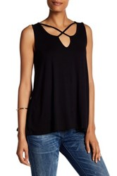 Bobeau Cross Front Sleeveless Tank Black
