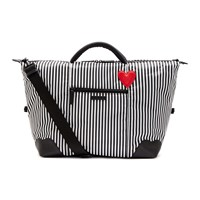 Lulu Guinness Hearts And Stripes Fenella Weekend Holdall Black And White